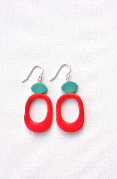 Teal red funky earrings retro colorful by debroervandevogel