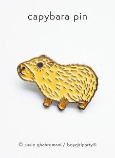 Capybara Pin Enamel Pin by boygirlparty: http://shop.boygirlparty.com/products/capybara-pin-enamel-pin-by-boygirlparty