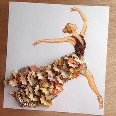 Ballerina  Made with pencil shavings .  Edgar Artist via Poemology