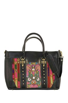 Black Leather Handbag Hand-embroidered with Bead by Vintage Addiction on @HauteLook