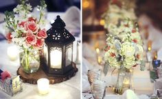 Winter wedding ideas. Centerpiece and bridesmaid bouquets