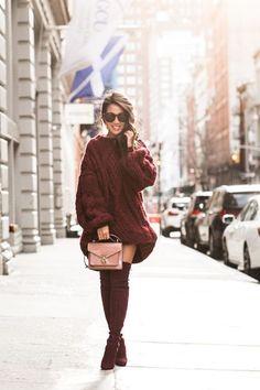 Burgundy Puff :: Chunky knits & Burgundy boots