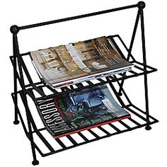 @Overstock - Bring order to chaos by organizing magazines, newspapers, and catalogs with this handsome wrought iron magazine rack. This rack has two shelves for holding your reading material and adds a distinctive modern touch to any space in the home or office.http://www.overstock.com/Home-Garden/Black-Wrought-Iron-Magazine-Rack/3872802/product.html?CID=214117 AUD              70.00