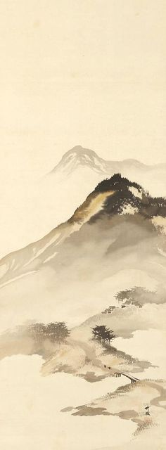 Mountain Landscape with Bridge painting; ink and color on silk Oni Zazen Collection, Odake Chikuha, 尾竹竹坡 Japanese Painting, Chinese Painting, Chinese Art, Chinese Landscape Painting, Japanese Watercolor, Chinese Brush, Watercolor Landscape, Landscape Art, Landscape Paintings