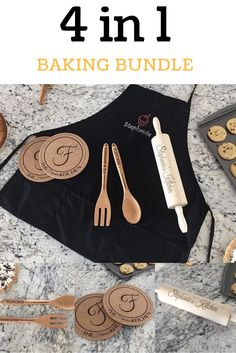 Get your on with our 4 in 1 Baking Bundle! Bundle includes: 1 apron, 1 set of hot pads, 1 set of utensils, & 1 rolling pin Personalised Gifts Unique, Personalized Wedding Gifts, Unique Gifts, Hot Pads, Rolling Pin, Utensils, Kitchen Decor, Apron, Baking