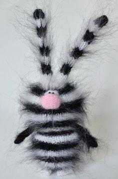 Cebra Rayas negro de Bunny - Conejo Liebre de peluche conejito Amigurumi conejito de juguete miniatura muñeca ornamento de Navidad juguetes Halloween de punto de ganchillo