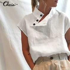 Casual Tops, Casual Shirts, Stylish Tops For Women, Summer Blouses, Online Clothing Stores, White Fashion, Short Sleeve Blouse, Plus Size Women, Tunic Tops