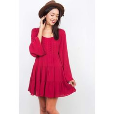 Pink Ice Dixie Crochet Dress ($38) ❤ liked on Polyvore featuring dresses, red, pink babydoll dress, viscose dress, red babydoll dress, rayon babydoll dress and macrame dress