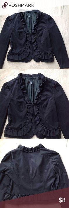 INC Ruffle Jacket Size is XL however it fits more like Medium or Large fit, better for chest sizes smaller than 38C, jacket has shrunk due to putting in dryer that is not suppose to go in dryer, has hook and eye closer down front, long sleeve, see picture 5 for materials made from. INC International Concepts Jackets & Coats Blazers