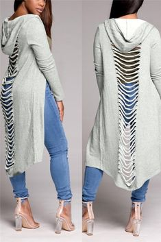Grey Cut Out Destroyed Ripped Hooded Casual Cardigan Coat Maxi Coat, Coat Dress, Smock Dress, Dress Shirt, Mode Outfits, Fashion Outfits, Womens Fashion, Fashion Trends, Coats For Women
