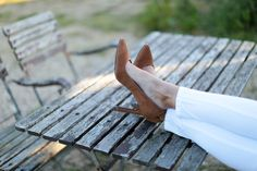 Tan suede court shoes with flared heel, white skinny jeans