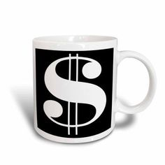 3dRose White Dollar Sign Against A Black Background, Ceramic Mug, 11-ounce