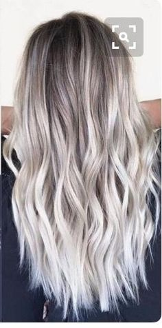 ombre // balayage // gray hair // long hair // hairstyle // beach waves