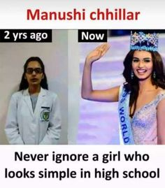 Manushi chhillar 2 yrs ago Now Never ignore a girl who looks simple in high school - Daily LOL Pics Funny School Jokes, Crazy Funny Memes, Really Funny Memes, Funny Facts, Hilarious Memes, Funny Quotes, Funny Humour, Quotes Quotes, Motivational Quotes