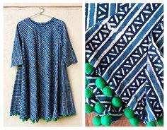 Indigo Hand Block Printed Swing Dress with Handmade Pompoms