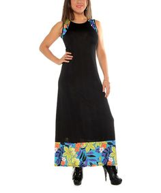 Love this Black Floral-Detail Sleeveless Maxi Dress - Plus by Shoreline on #zulily! #zulilyfinds
