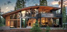 New Ideas for house modern exterior design woods Exterior Door Colors, Design Exterior, Modern Exterior, Exterior Windows, Ranch House Plans, Craftsman House Plans, House In Nature, House In The Woods, Contemporary Cabin