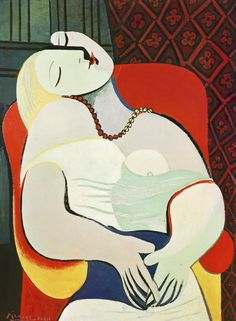 Pablo Picasso (Spanish, La Rêve (The Dream), Oil on canvas, 130 x 97 cm x inches. © Estate of Pablo Picasso / Artists Rights Society (ARS), New… Kunst Picasso, Art Picasso, Picasso Paintings, Picasso Portraits, Pablo Picasso Cubism, Cubist Portraits, Picasso Style, Famous Portraits, Picasso The Dream