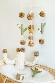 DESERT NIGHT boho baby nursery mobile, cactus mobile