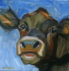 "KYLE BUCKLAND JENN COUNTS FARM ART COW CATTLE  ANIMAL OIL PAINTING A DAY Impressionism FINE ART WALL ART HOME OFFICE RESTAURANT DECOR  GREAT GIFT IDEA COLLECTIBLE ""Cupid"" Oil on Canvas 12""X12"""