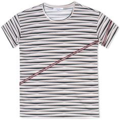 Carven Short Sleeve T-Shirt (2 785 ZAR) ❤ liked on Polyvore featuring tops, t-shirts, skin color, carven top, short sleeve tees, pink striped top, stripe top and striped tee