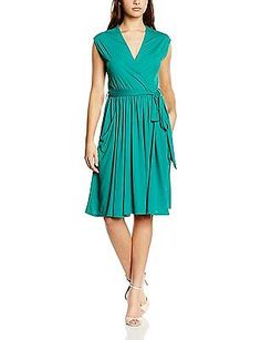 14, Green (Emerald Green), HotSquash Women's Capped Sleeve Fit N Flare Dress NEW