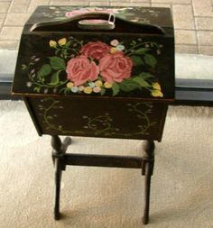 225: Vintage Sewing Box with Hand Painted Cover : Lot 225
