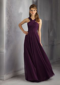 Draped Luxe Chiffon Bridesmaid Dress with Unique Crossed Neckline. Long. Zipper Back. Colors available: all Luxe Chiffon colors. Sizes Available: 2-28.
