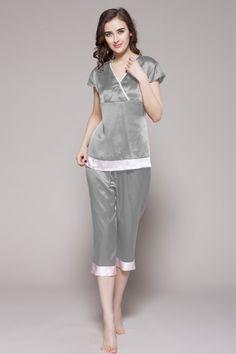 Pure Silk Pajama Set with Lace Trim MS1 | Pajamas, Pure silk and Blush