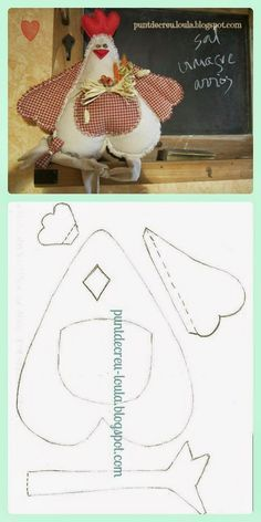 Rooster Pattern but no instructions Felt Crafts, Easter Crafts, Fabric Crafts, Diy And Crafts, Arts And Crafts, Sewing Toys, Sewing Crafts, Sewing Projects, Craft Projects