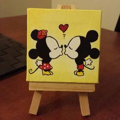 cutest little mini canvas painting of mickey and minnie mouse