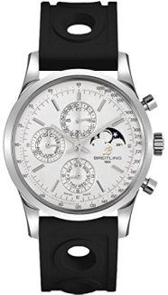– With Manufacturer Serial Numbers- Silver Dial- Day / Date / Month Calendar Feature- Chronograph Feature- Moon Phase Feature- 42 Hour Power Reserve- Self Winding Automatic Movement- Breitlin… Trendy Watches, High End Watches, Swiss Luxury Watches, Luxury Watches For Men, Breitling Navitimer, Quartz Watch, Fashion Watches, Jewelry Shop, Chronograph