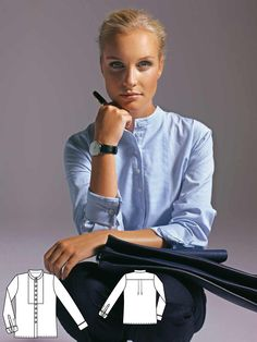 Casual and comfortable is the shirt blouse of fine striped shirts poplin. The stand-up collar looks pure and refined. Blouse Patterns, Clothing Patterns, Sewing Patterns, Burda Patterns, Col Mandarin, Couture, Style Magazin, Sewing Blouses, Collar Pattern