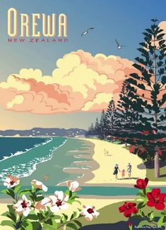 Retro Poster of Orewa by CCS - Travel Print - Check out Retro Poster of Orewa at New Zealand Fine Prints - New Zealand Art, Nz Art, Kunst Poster, Kiwiana, Vintage Travel Posters, Vintage Ski, Sale Poster, Cool Posters, Illustrations