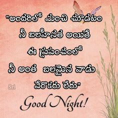 Sweet Night, Good Night, Telugu, Wish, Sleep, Math Equations, Quotes, Nighty Night, Quotations