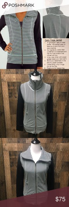 Lululemon Daily Yoga Jacket Mint Black 6 Lululemon Daily Yoga Jacket. Size 6. Classic Stripe Mint Moment Black. Very good used condition. Check out my closet for other namebrand items to bundle with to save 15% and combined shipping. lululemon athletica Jackets & Coats