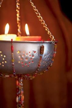 Candle holder from repurposed metal collander - love this! #Candle #Repurpose #Upcycle pb†å