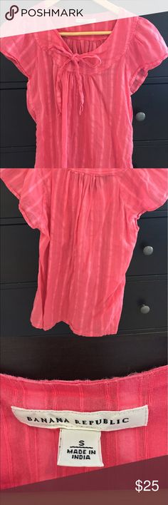 Banana Republic Pink Cotton Bow-Tie Top Light and airy pink cotton fabric with cap sleeves and cute bow tie in the front. Banana Republic Tops Blouses