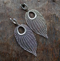 The Leaf Silver Plated Wire Chrocheted Earrings by Ksemi on Etsy, $76.00