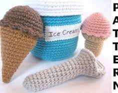 Play Food Crochet Pattern - Ice Cream Parlor