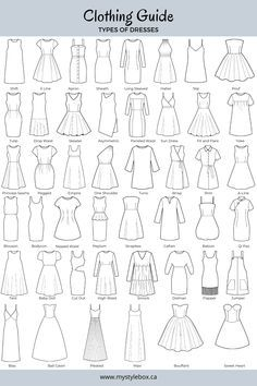 Fashion Vocabulary and definitions that are used for styling guides. Dress Design Drawing, Dress Design Sketches, Fashion Design Sketchbook, Art Drawings Sketches Simple, Fashion Design Drawings, Fashion Sketches, Clothes Design Drawing, Fashion Drawing Dresses, Fashion Illustration Dresses