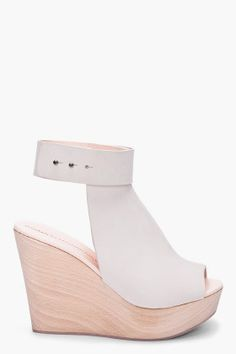 cream open back wedges by Common Projects
