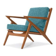 Thrive Furniture - Kennedy Mid Century Modern Chair - Lucky Turquoise Blue - The Kennedy Chair is a mid century modern reporduction.  Customize yours with over 30 fabric and leather options and 3 wood finishes.  Made in the USA. Ask for Free fabric samples!  Items are custom made-to-order and shipped in 7 business days.