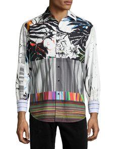 Passion Flower Multi-Print Sport Shirt, Multi