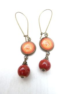 bronze earrings with Mandala cabochon (S-572b) van Dome's Design op DaWanda.com