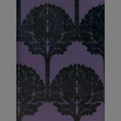 Black & Purple Trees Velvet Flocked Wallcovering design by Burke Decor