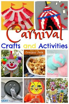 Carnival Crafts and Activities to Celebrate National Carnival Day February 26th. Lots of fun, clever ideas for toddler, preschool, prek, kindergarten, first grade, or 2nd grade kids for school themes, family fun, homeschool, special days, party themes, or circus theme activities.