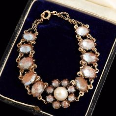 Antique Vintage Art Nouveau 14k Yellow Gold Saphiret Glass Mabe Pearl Bracelet! #LEC #Tennis