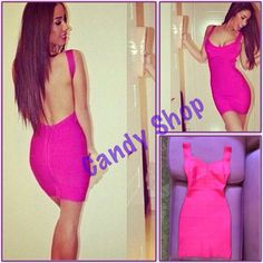 Celebrity dress herve leger pink