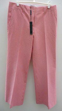 "Elie Tahari NWT ""Larisa"" Seersucker Pant Red & White w/ Belt Sz 8 Retail $228. #ElieTahari #CasualPants"